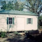 Shed with Green Trim and Roof