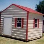 Tan and Red Shed with Peak Roof